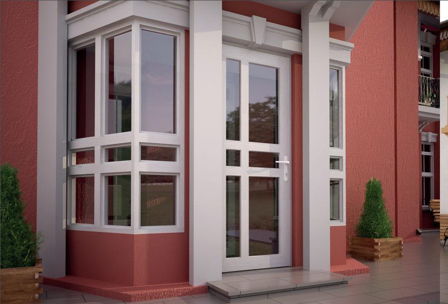 розовые стены белая дверь