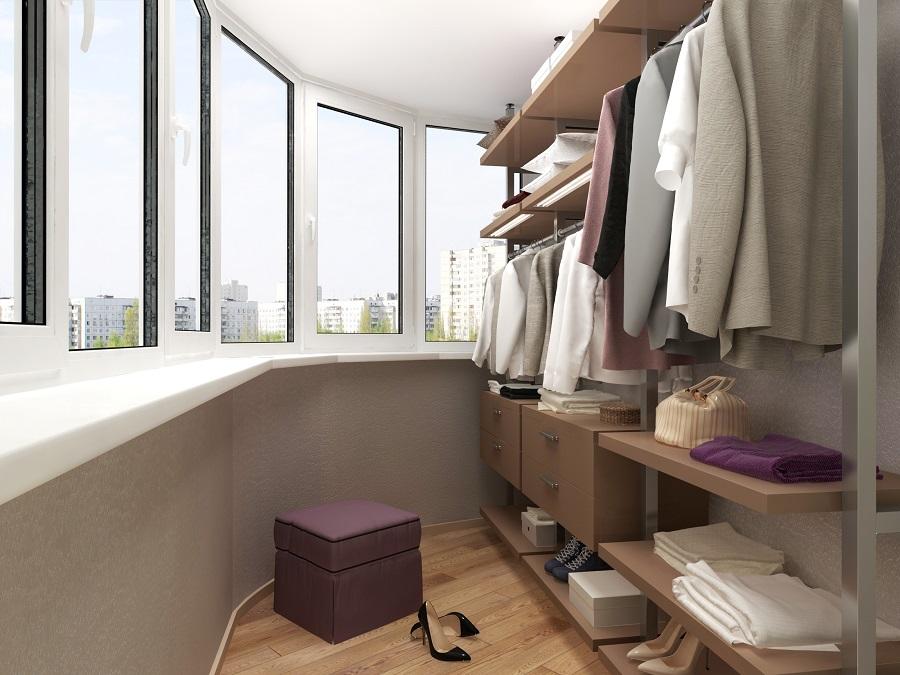Как сделать гардеробную избалкона или лоджии?.